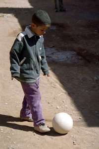 One of the children who played soccer with Pedro and Robby- Aït Ben Haddou, Morocco ... March 8, 2005 ... Photo by Heather Page