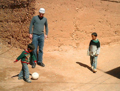 Playing soccer with the locals - Aït Ben Haddou, Morocco ... March 8, 2005 ... Photo by Heather Page