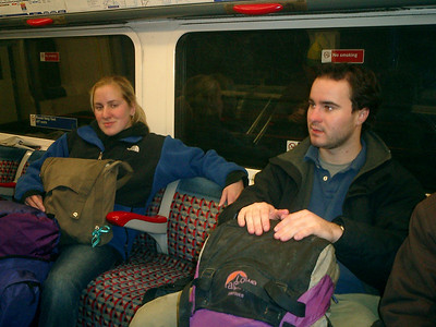 Heather and Elliot enjoying the Underground - London, England ... March 4, 2005 ... Photo by Rob Page III