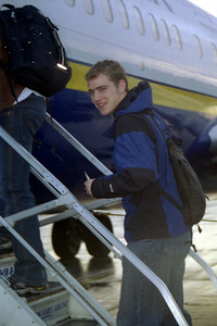Rob boarding the RyanAir jet to Spain - London, England ... March 5, 2005 ... Photo by Heather Page