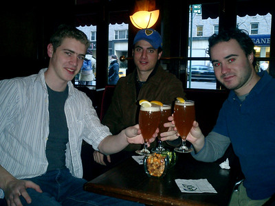 Toasting at Rue 57 to the good times ahead - NYC ... March 3, 2005 ... Photo by Heather Page
