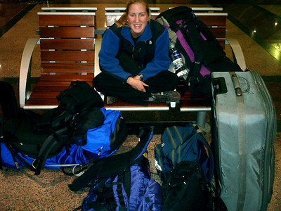 Heather gaurding all of our lugguage in the train station - Tangier, Morocco ... March 6, 2005 ... Photo by Rob Page III