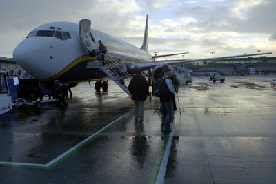 On the tarmac heading to Spain - London, England ... March 5, 2005 ... Photo by Heather Page