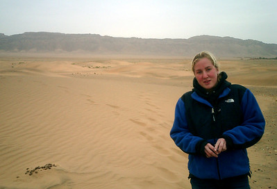 Heather in the Sahara Desert.  It was a little chilly in the desert though - Zagora, Morocco ... March 9, 2005 ... Photo by Rob Page III
