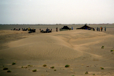 Our Berber camp in the middle of the Sahara Desert.  We had no idea what the landscape was going to be like the night before because we rode the camals for an hour in the dark.  We were in the middle of nowhere - Zagora, Morocco ... March 9, 2005 ... Photo by Rob Page III
