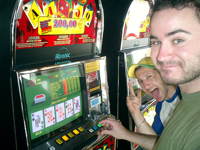 Playing the slots on the ferry to Spain - Mediterranean Sea ... March 11, 2005 ... Photo by Rob Page III