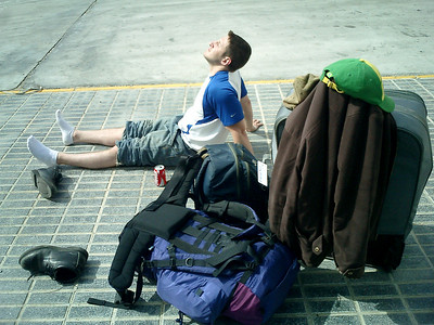Jordan sunning himself upon arrival in Spain - Tarifa, Spain ... March 11, 2005 ... Photo by Rob Page III
