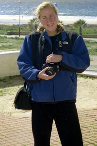 Heather enjoying her photography - Tarifa, Spain ... March 6, 2005 ... Photo by Rob Page III