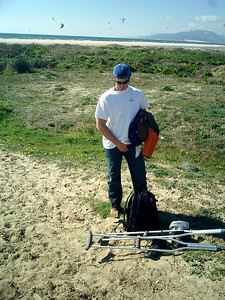 Even though Pedro is on crutches he wants to play on the beach - Tarifa, Spain ... March 6, 2005 ... Photo by Rob Page III