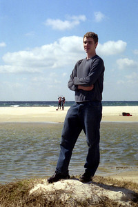 Rob on the beach - Tarifa, Spain ... March 6, 2005 ... Photo by Heather Page