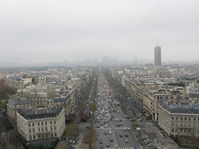 Avenue de la Grande Armee from the top of the Arc de Triomphe