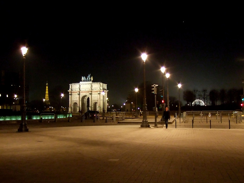 Th Eiffel Tower, Arc de Triomphe du Carrousel and Ferris Wheel at Night from the Louvre