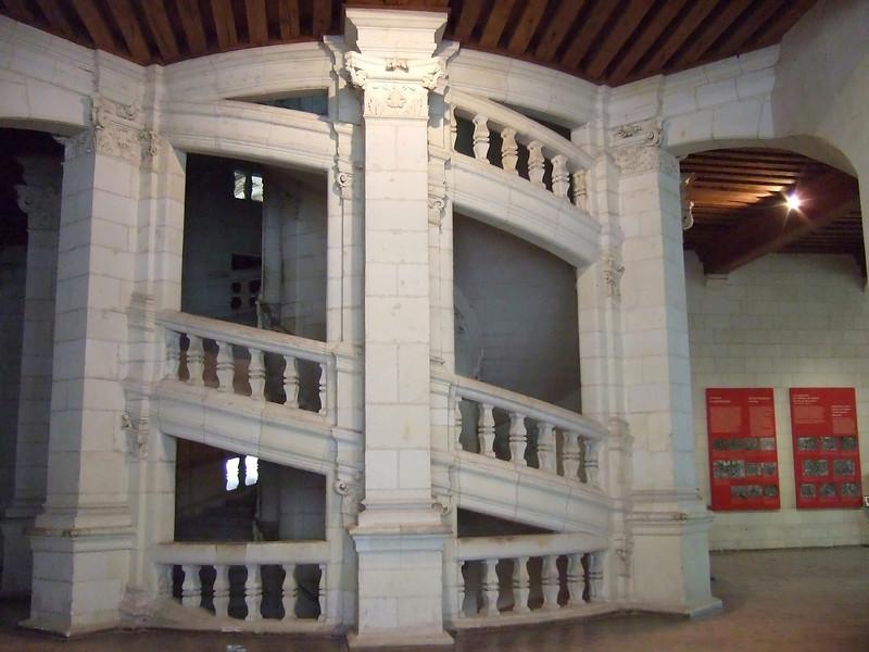 Interior dual staircase at Chambord