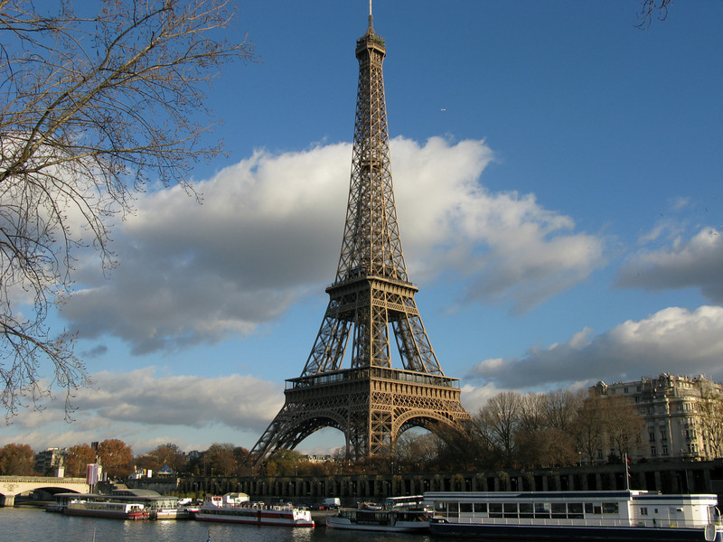 The Eiffel Tower from the side of the Seine River