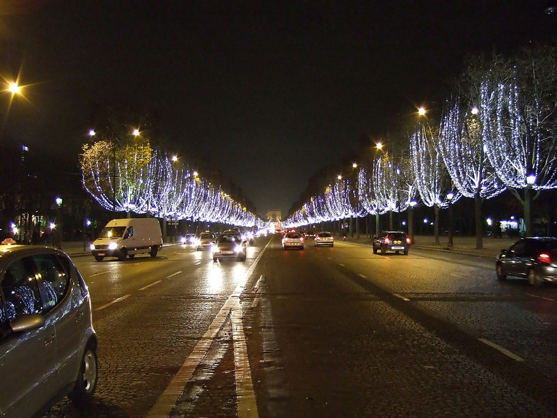 Champs Eleysees at Night with Christmas Lights