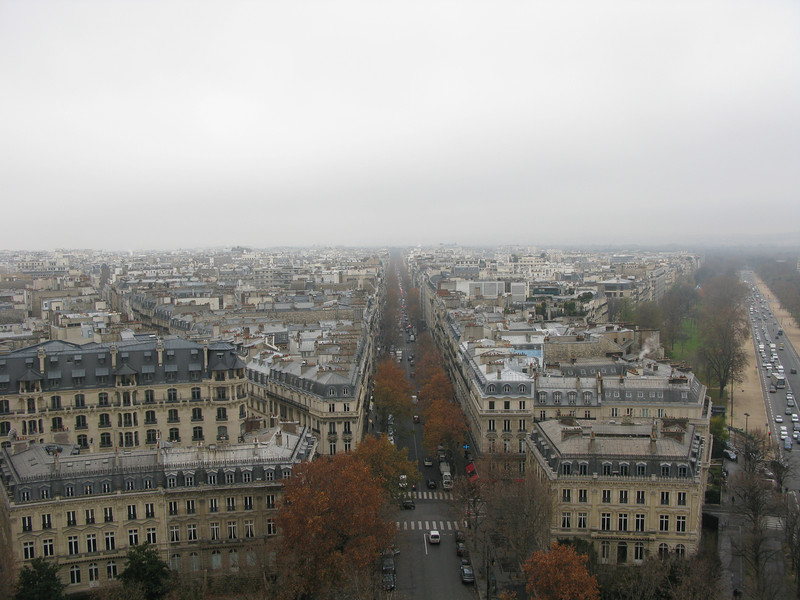 Avenue Victor Hugo and Avenue Foch (right) from the top of the Arc de Triomphe