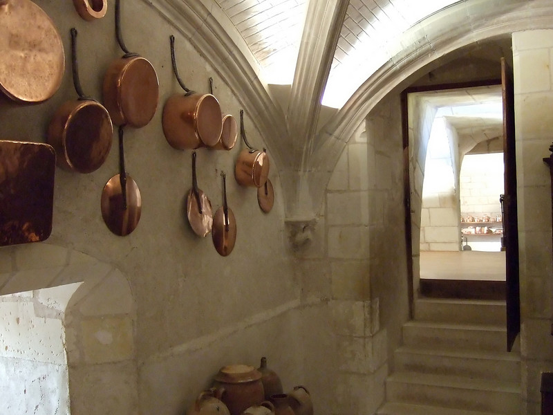 Kitchen working area at Chateau Chenonceau