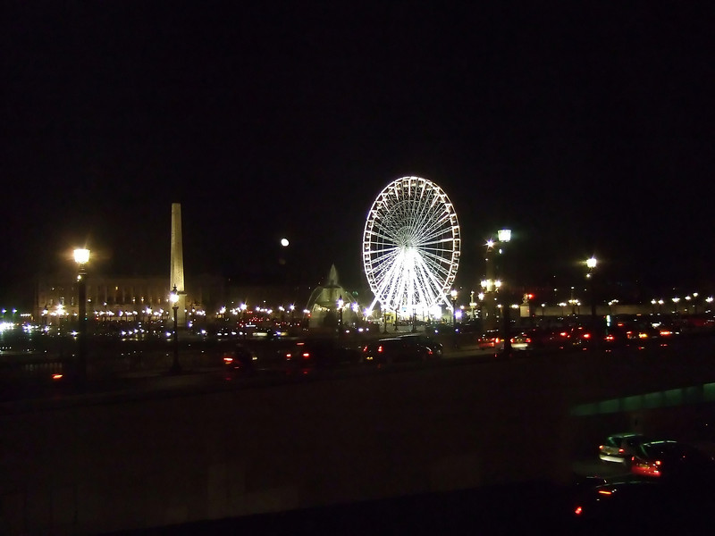 The Ferris Wheel, Obelisk and Fountain at Night