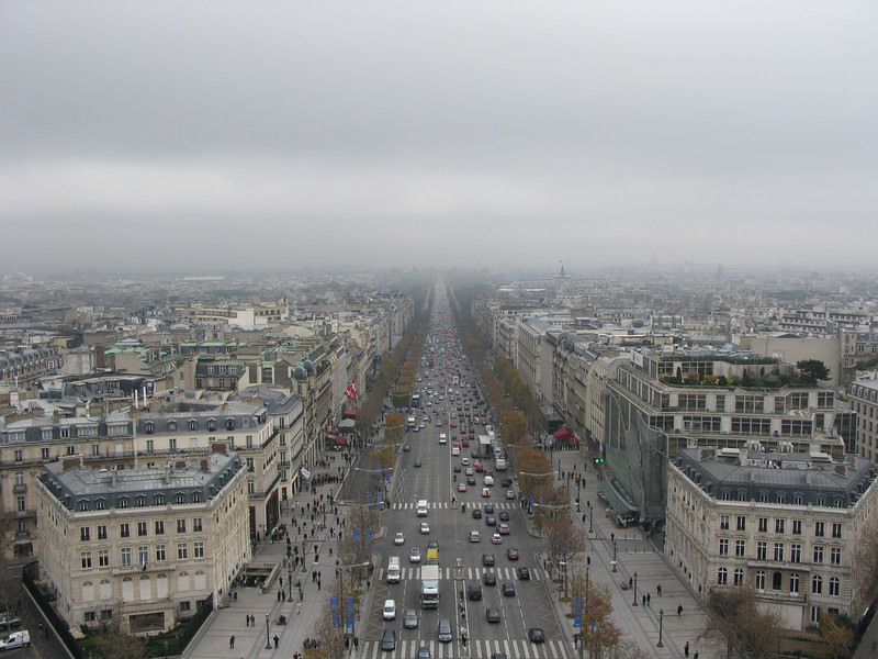 Champs Elesyee from the top of the Arc de Triomphe