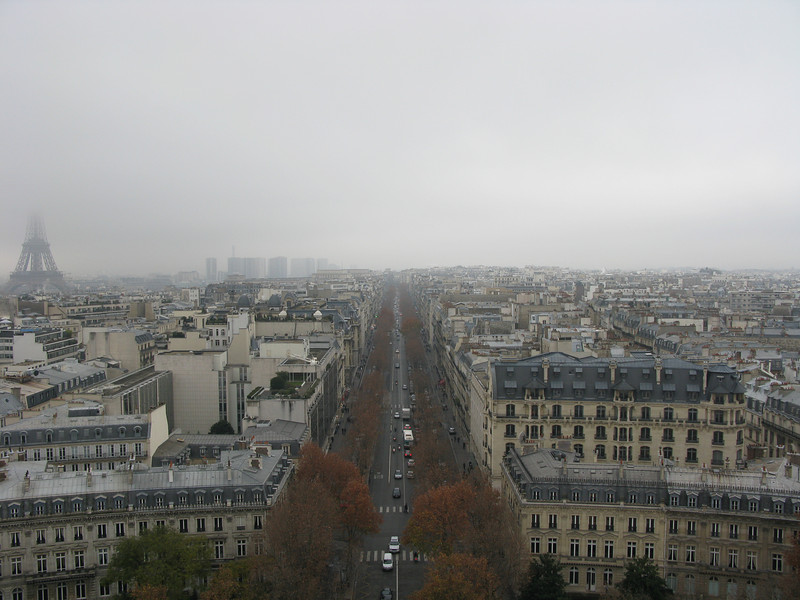 The twelve fingers from the ArcAvenue Kleber from the top of the Arc de Triomphe