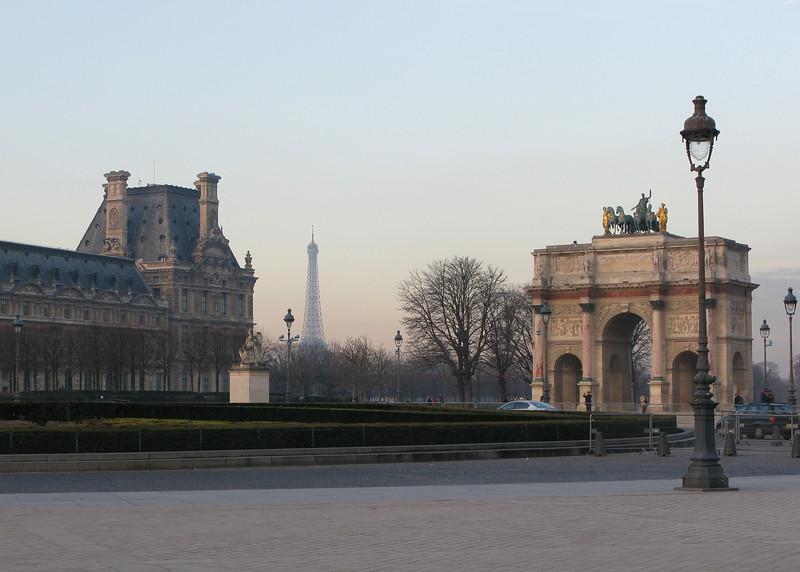 The Louvre, Arc de Triomphe du Carrousel and Eiffel Tower