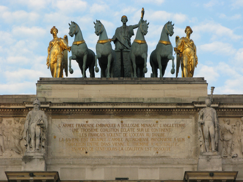 Dedication and Top Details of the Arc de Triomphe du Carrousel across from the Louvre Museum