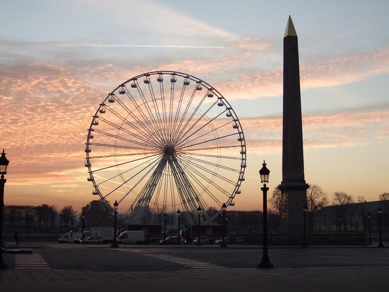 The Ferris Wheel and Obelisk at Sunrise