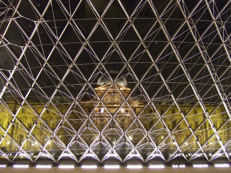 The Pyramids frame from inside the Louvre