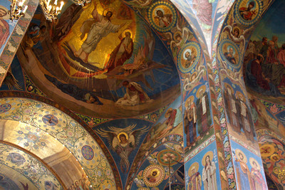 Inside the Church of the Savior on Spilled Blood.  There are over 7000 square feet of tiled mosaics all over the inside and part of the outside of the church - Saint Petersburg, Russia ... May 28, 2009 ... Photo by Rob Page III