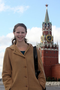 Emily in front of the Spasskaya Tower - Moscow, Russia ... May 25, 2009 ... Photo by Rob Page III