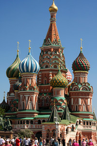 Saint Basil's Cathedral.  A multi-tented church on the Red Square in Moscow that also features distinctive onion domes.  The cathedral was commissioned by Ivan IV and built from 1555 to 1561 - Moscow, Russia ... May 30, 2009 ... Photo by Rob Page III