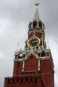 Spasskaya Tower.  It was initially constructed in 1491 and has seen modifications over the years.  The star was added in 1935.  The tower stands at 71 meters and is also referred to as the Kremlin Clock - Moscow, Russia ... May 24, 2009 ... Photo by Rob Page III