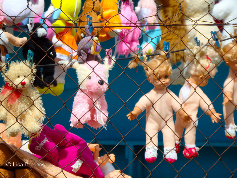 Closeup of the Dolls and Stuffed Animals