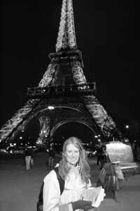Me with my banana and Chocolate Crepe in front of the Eiffel Tower.