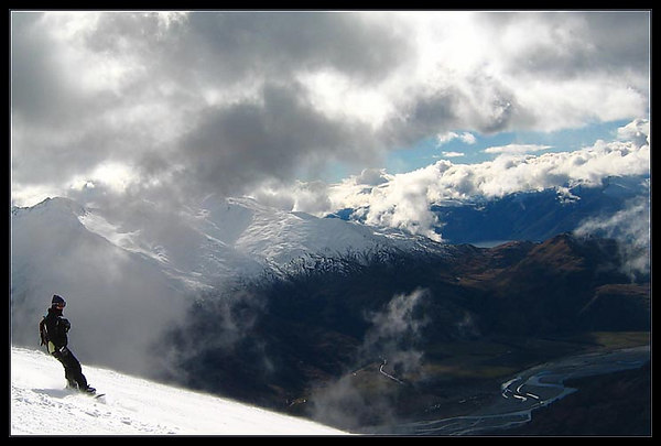 Looking down on Lake Wanaka from Treble Cone ski resort.