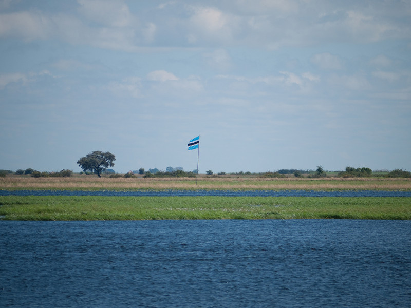 The flag of Botswana from Zambia and the Chobi River