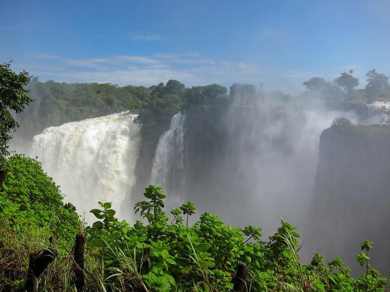Victoria Falls on the Zambezi River between the countries of Zambia and Zimbabwe.