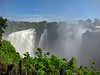 Victoria Falls on the Zambezi River between the countries of Zambia and Zimbabwe.