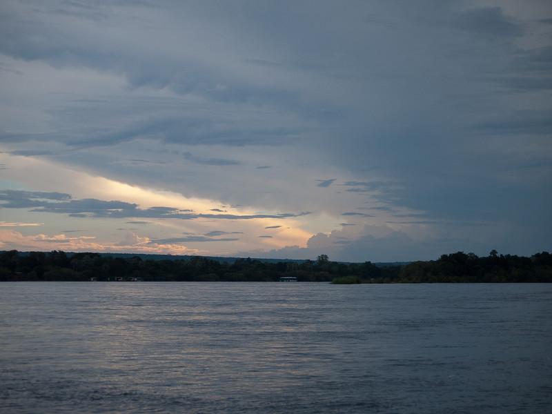 Sundown scenery on the Zambezi River