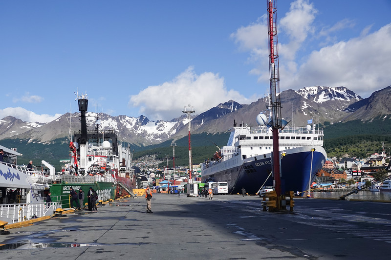 Heading in to Ushuaia, Argentina, from the Oceania  Marina.  Ushuaia is regarded as the southernmost city in the world.