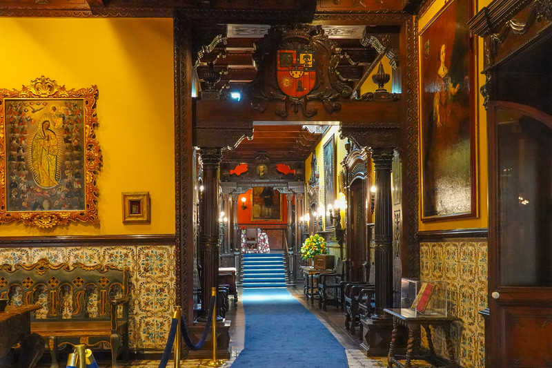 Inside the Casa de Aliaga, a Colonial Mansion which has been in the hands of the same family since 1534. Lima, Peru.