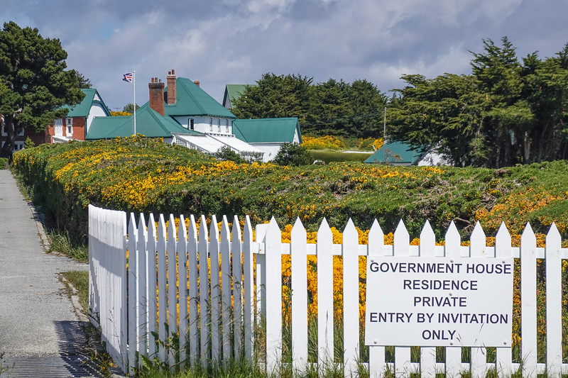 Walkway to the Government House and Private Residence in Port Stanley, Falkland Islands, UK.