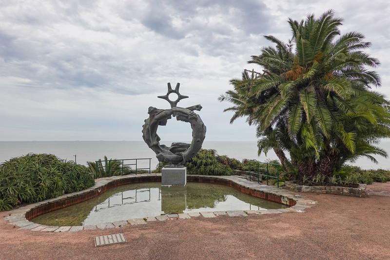 Tribute monument to a fallen soldier at the Plaza de la Armada, Montevideo, Uruguay.
