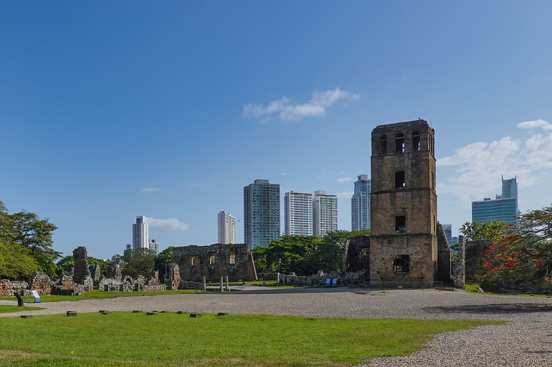 Remains of structures including a watch tower from 17th Century Panama City, outside the museum.