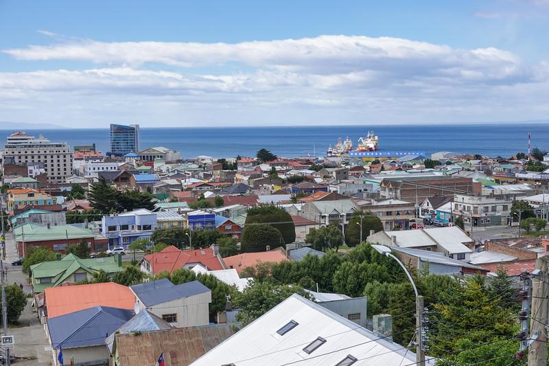 View from Cerro la Cruz lookout in Punta Arenas, Chile.