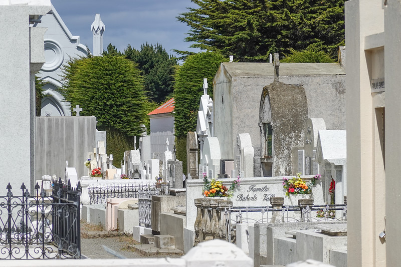 Remarkable markers in the Punta Arenas Municipal Cemetary, Chile.