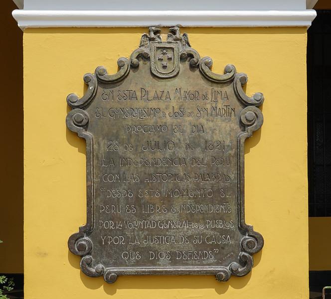 Welcome to the Casa de Aliaga, adjacent the Plaza de Armas, Lima, Peru.