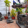 Statues dedicated to the French workers  who worked on the Panama Canal in the 1880's are outside Las Bovidas Restaurant, in Panama City, Panama.