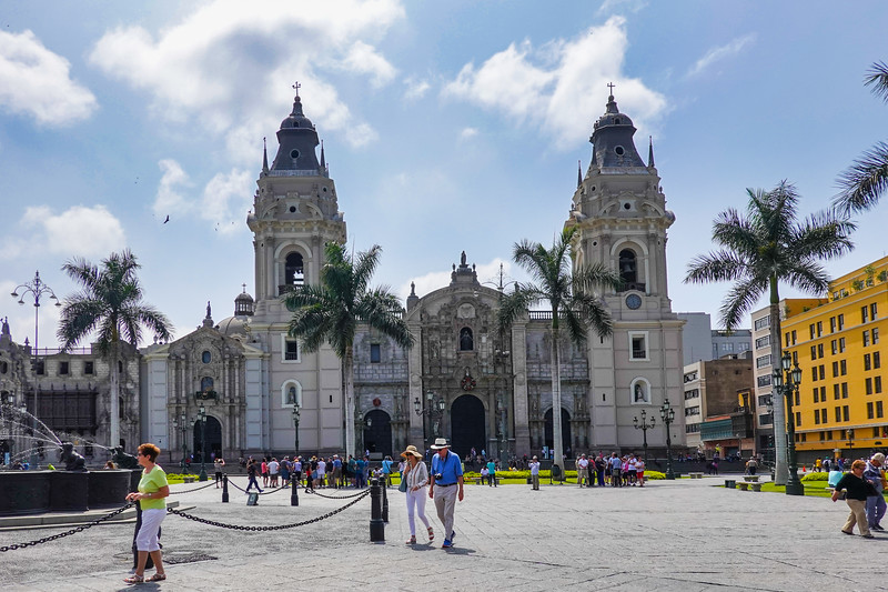 The Lima Catrhedral in the Plaza de Armas, Lima, Peru.