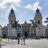 The Lima Catrhedral in the Plaza de Armas, Lima, Peru.
